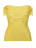 Yellow Fringe Off Shoulder Bandage Dress - Rumor Apparel