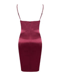 Burgundy Deep V Adjustable Strap Satin Dress - Rumor Apparel