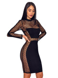Black Sheer Mesh Long Sleeve Stretch Crepe Dress - Rumor Apparel