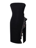 Black Strapless Ruffled Side Slit Stretch Crepe Dress - Rumor Apparel