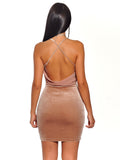 Stretch Velvet Criss Cross Draped BodyCon Dress - Rumor Apparel