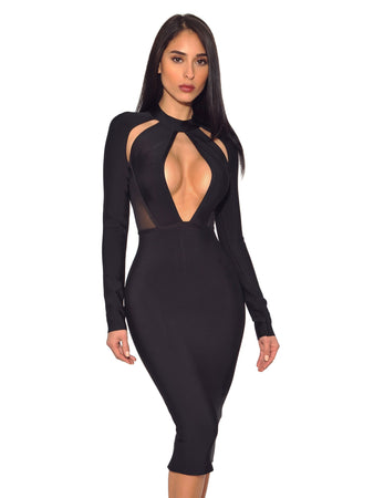 Black Keyhole Cut Out Long Sleeve Bandage Dress - Rumor Apparel