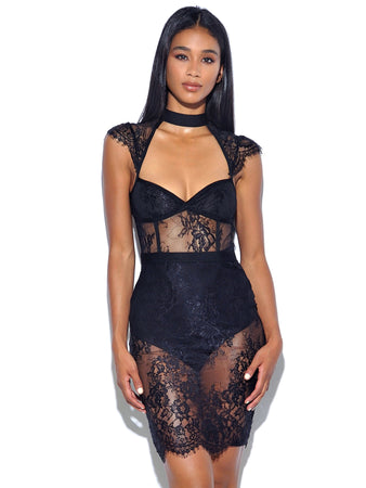 Cap Sleeve Choker Sheer Lace Dress