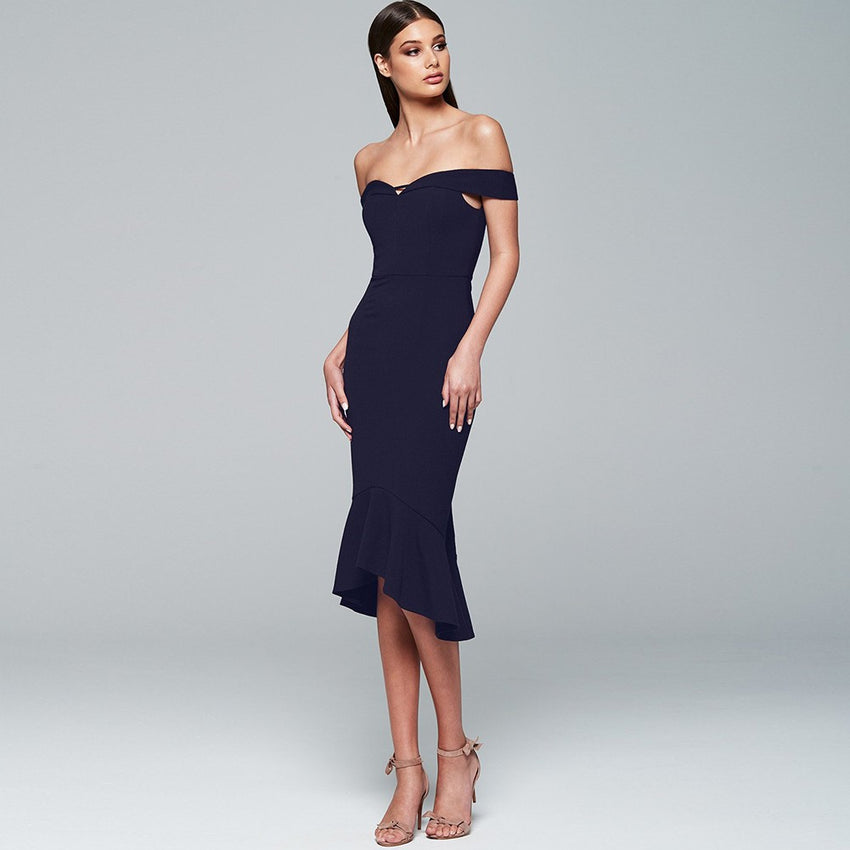 Off Shoulder Midi Bandage Dress - Rumor Apparel