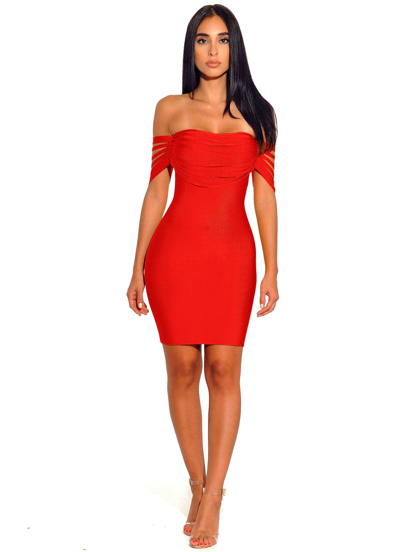 Red Fringe Off Shoulder Bandage Dress