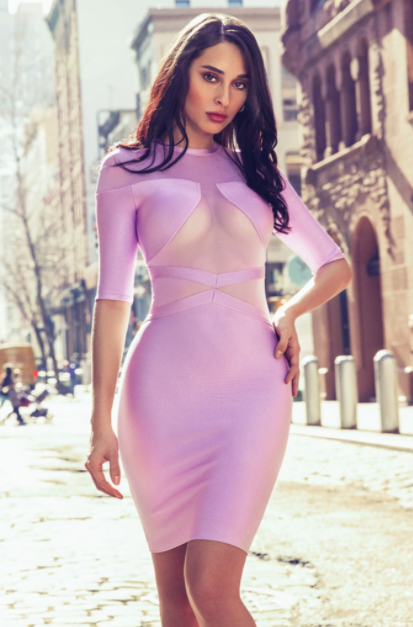 Lavender Mesh Detail Three-Quarter Sleeve Bandage Dress - Rumor Apparel