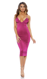 Deep V Neck Bodycon Midi Dress - Magenta - Rumor Apparel