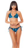 2 Piece Printed Bikini Set - Blue - Rumor Apparel