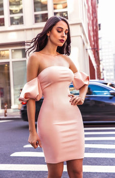 Light Pink Off Shoulder Puffy Sleeve Stretch Crepe Dress - Rumor Apparel
