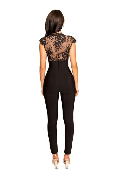 Deep V Lace Detail Black Bandage Jumpsuit - Rumor Apparel