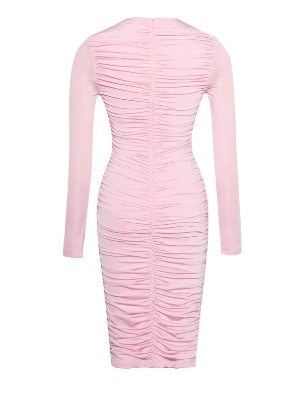Ruched Silk Jersey Front Twist Cut Out Pink Dress