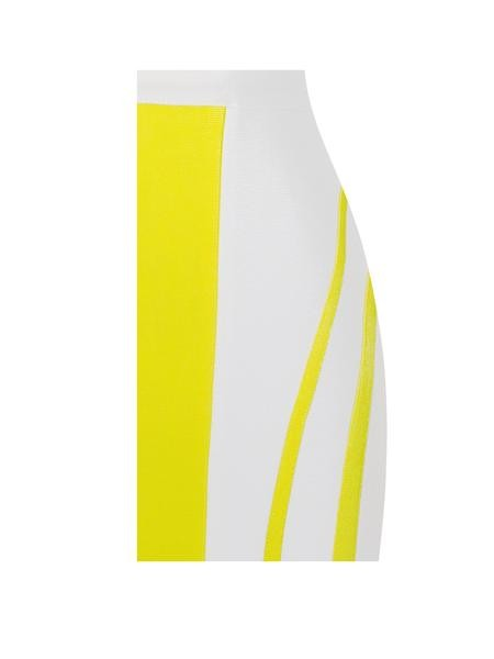 Strapless Bustier White and Yellow Bandage Dress
