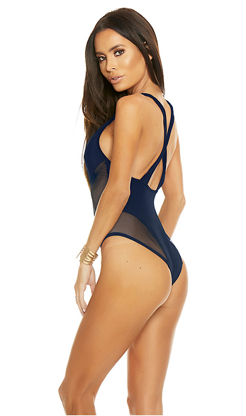 Mesh Illusion Monikini - Navy Blue - Rumor Apparel