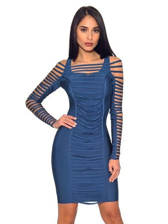 Ruched Detail Cut Out Sleeve Bandage Dress