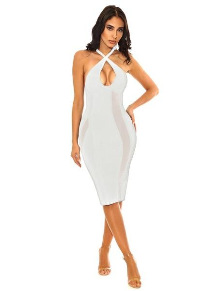 White Criss Cross Halter Top Mesh Detail Bandage Dress