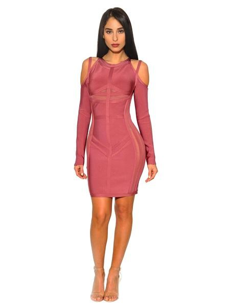 Salmon Pink Cut Out Shoulder Bandage Dress