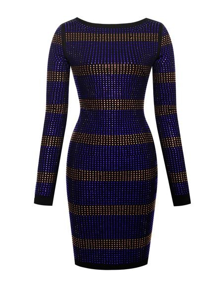 Deep V Back Zip Crystal Long Sleeve Stretch Crepe Dress - Rumor Apparel