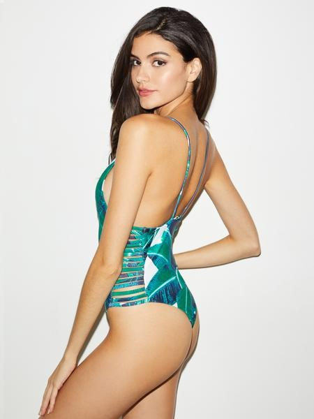 Tropical Palm Leaf Print Side Slit One Piece Swimsuit