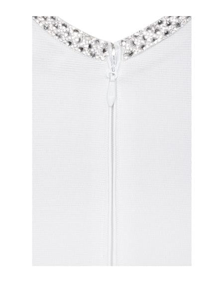 Crystal Embellished Open Back White Bandage Dress - Rumor Apparel
