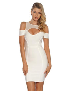 Sheer Mesh Cut Out Shoulder White Bandage Dress