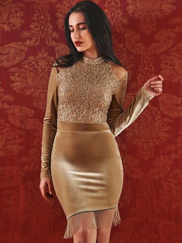 Gold Velvet Lace Detail Cut Out Shoulder Bodycon Dress - Rumor Apparel