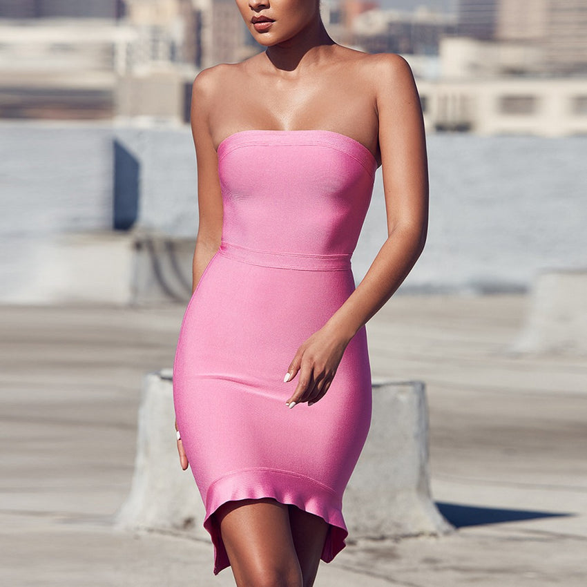 Pink Strapless Mini Dress - Rumor Apparel
