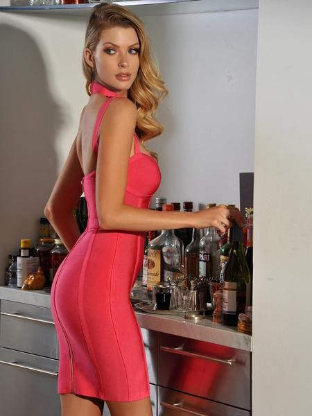 Dark Pink High Neck Cut Out Gold Button Detail Bandage Dress - Rumor Apparel