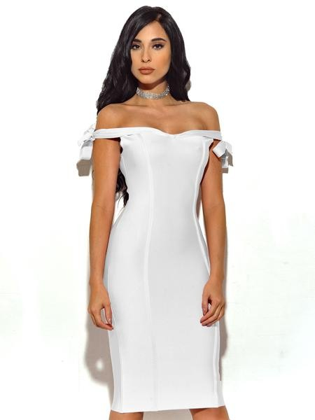 White Off The Shoulder Bandage Dress