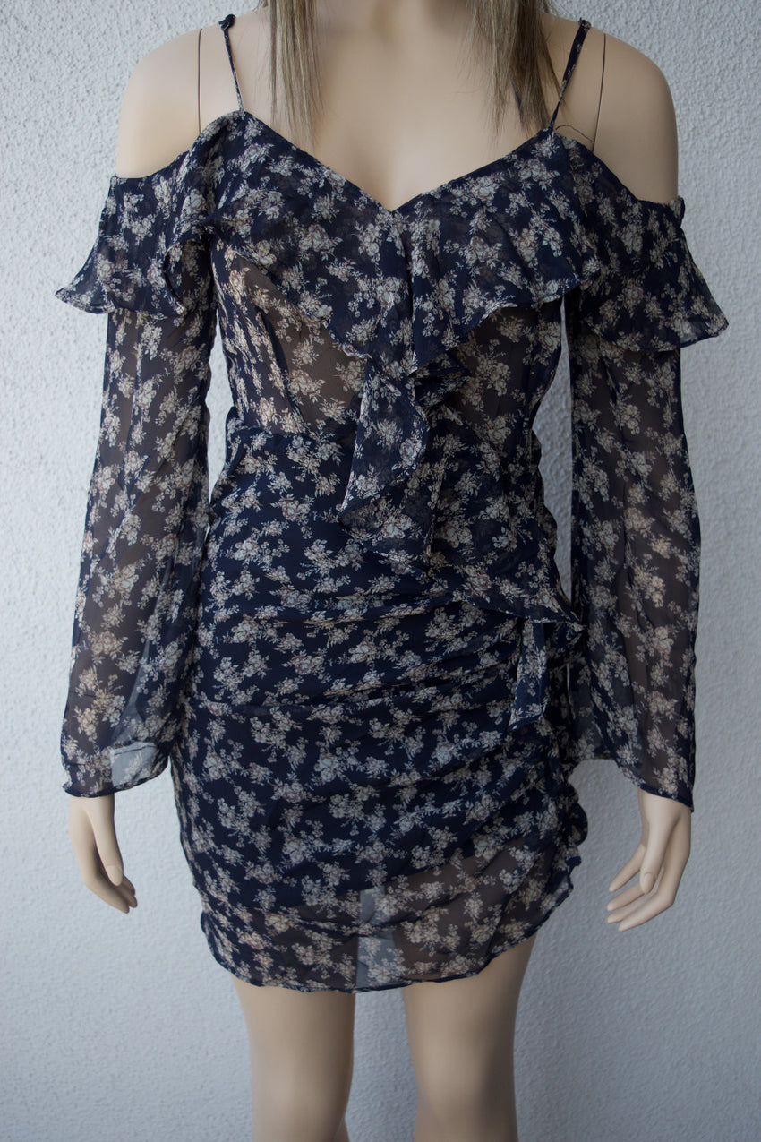 Navy Blue Long Sleeve Floral Ruffled Dress - Rumor Apparel