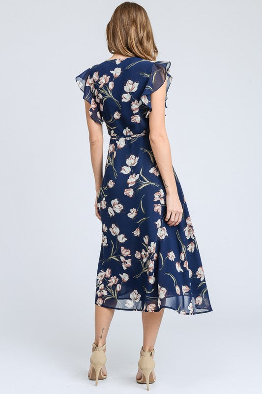 Navy Blue Floral Print Midi Dress - Rumor Apparel