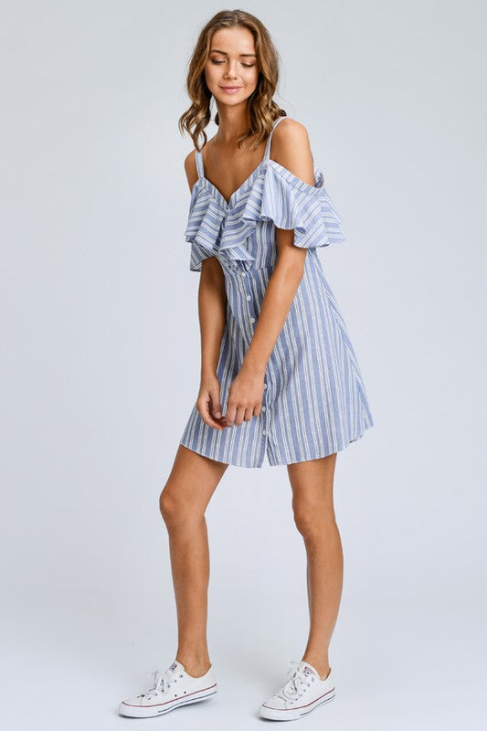 Striped Button Down Mini Dress