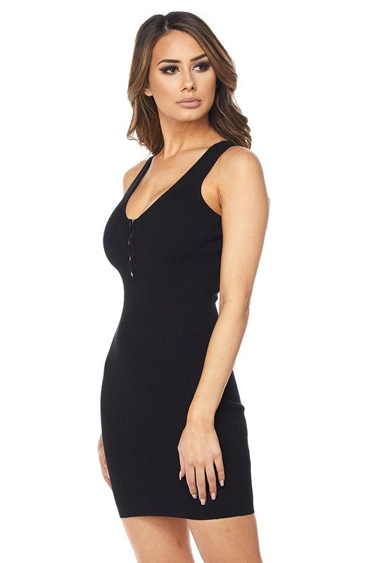 Black Knit Mini Dress - Rumor Apparel