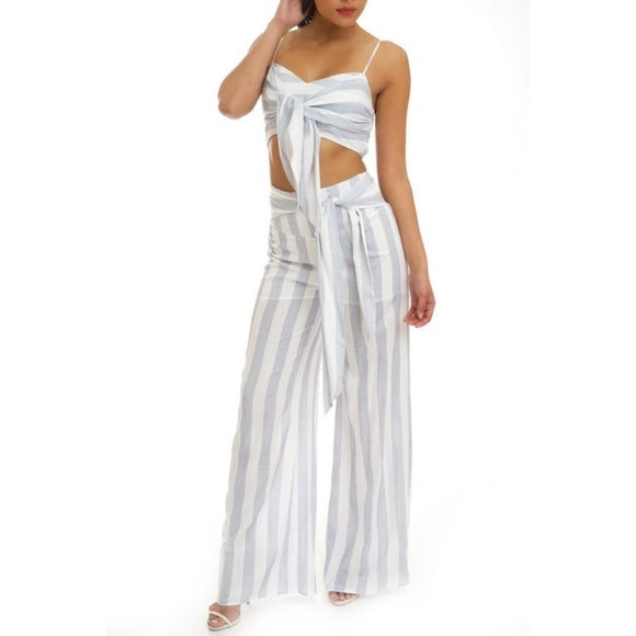 Two Piece Striped Crop Top & Palazzo Pants
