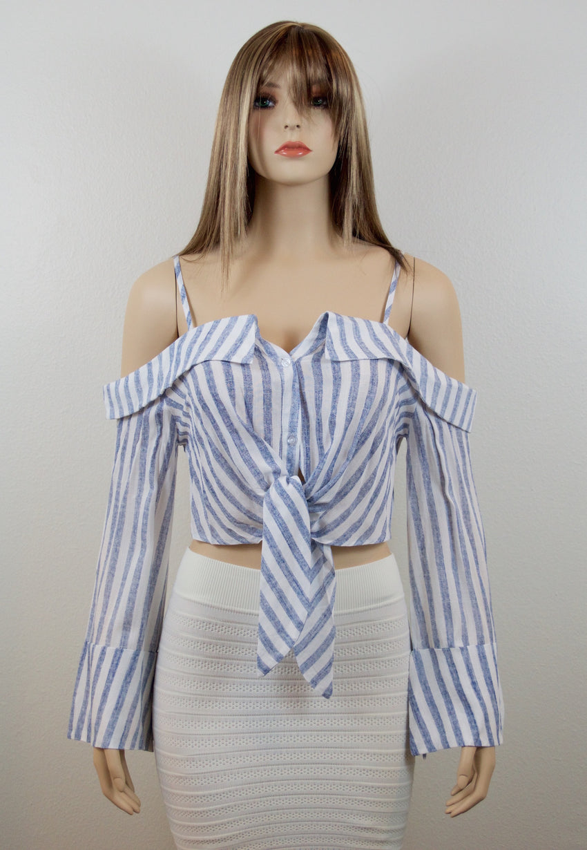 Long Sleeve Striped Off Shoulder Crop Top - Rumor Apparel