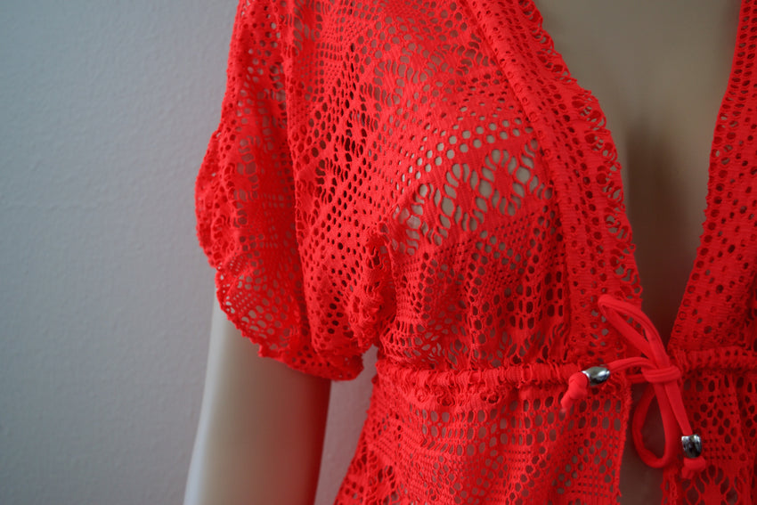 Coral Short Sleeve Bikini Cover Up - Rumor Apparel