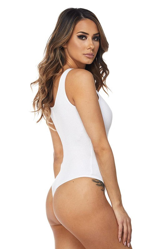 White Sleeveless Button Detail Bodysuit - Rumor Apparel