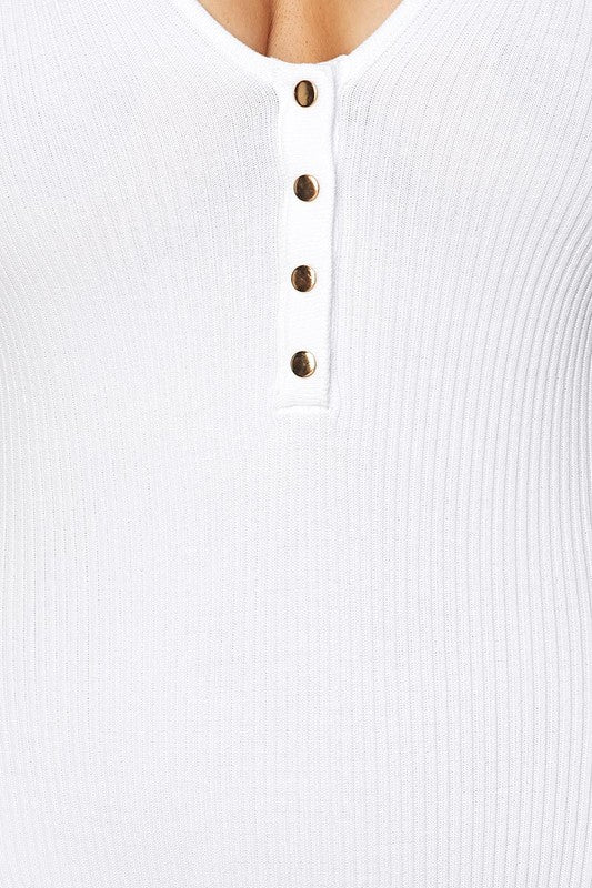 White Sleeveless Button Detail Bodysuit