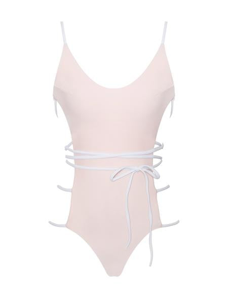 Light Pink Side Detail One Piece Swimsuit - Rumor Apparel