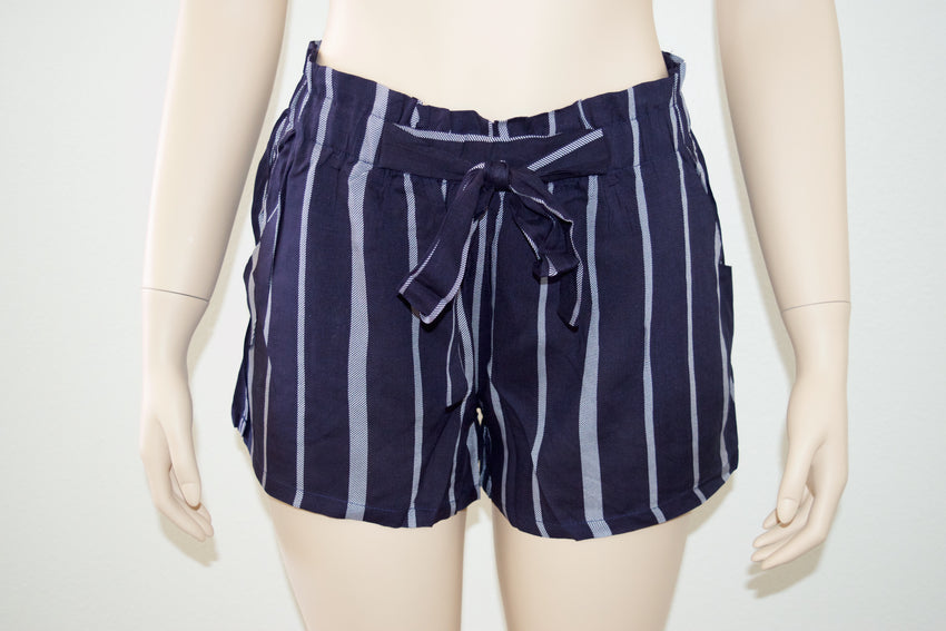 Navy Blue Striped Shorts - Rumor Apparel