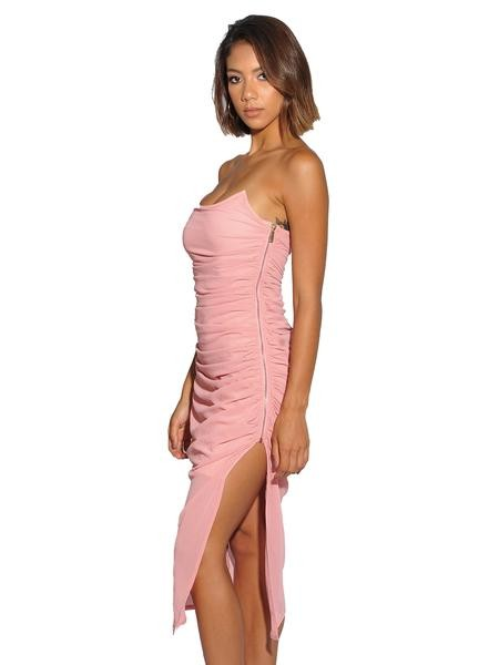 Salmon Pink Wired Bustier Ruched Chiffon Dress