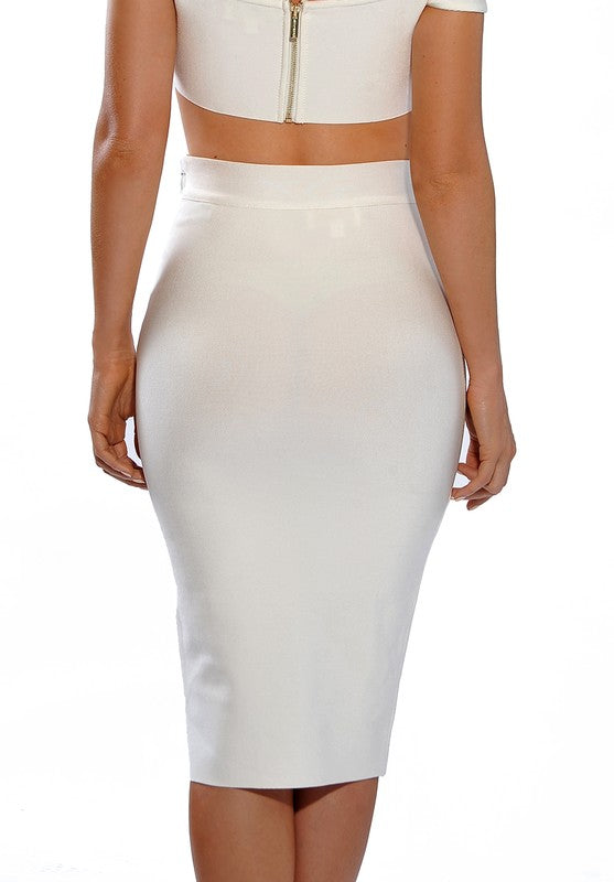 White High Waist Midi Bandage Skirt