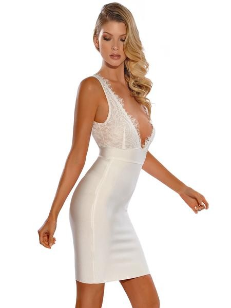 White Deep V Detailed Lace Backless Bandage Dress