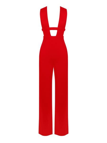 Red Deep V Cut Out Stretch Crepe Jumpsuit