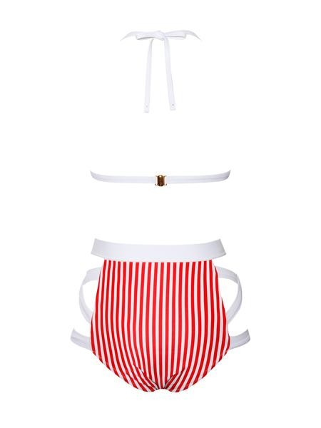 Red Striped High Waisted Two Piece Swimsuit
