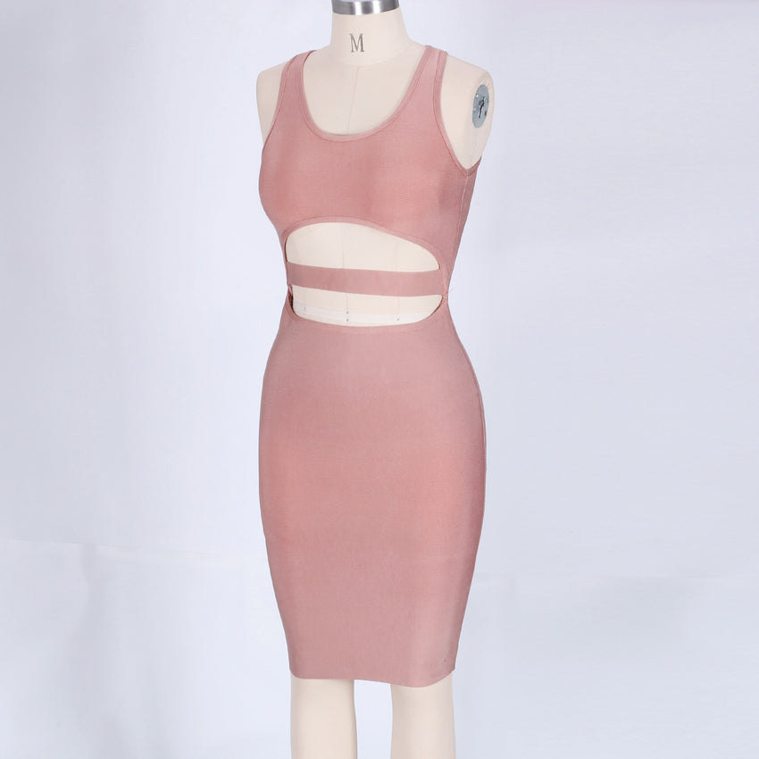 Nude Sleeveless Cutout Bandage Dress - Rumor Apparel