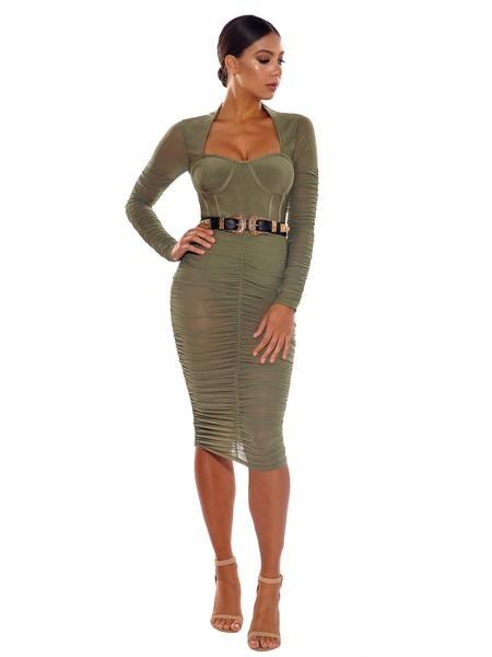 7f2e9f97d878 Olive Green Mesh Long Sleeve Rouched Bandage Dress – Rumor Apparel