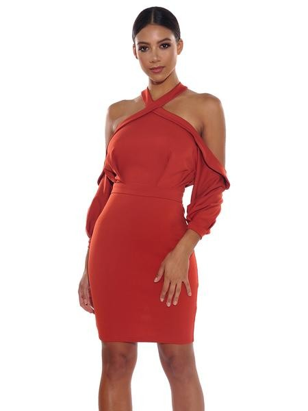 Criss Cross Halter Draped Sleeve Stretch Crepe Dress - Rumor Apparel