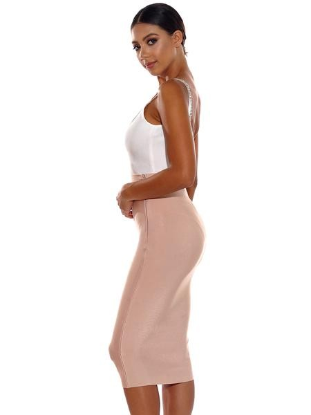 Beige Midi Length Bandage Skirt - Rumor Apparel
