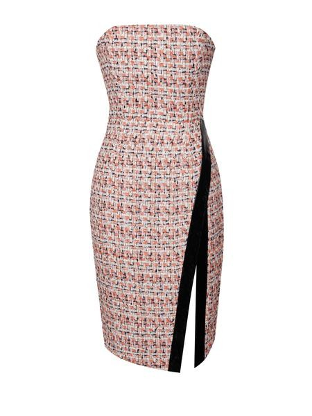 Multi Color Tweed Strapless Thigh Split Dress - Rumor Apparel