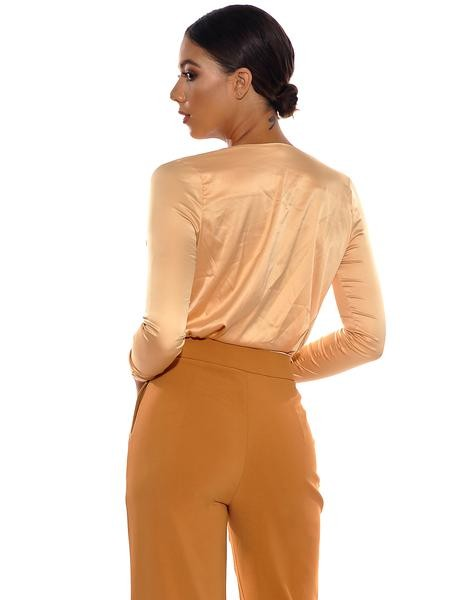 Honey Satin Cross Over Bodysuit - Rumor Apparel